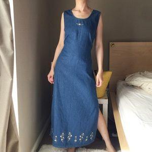 Vintage Embroidered Maxi Denim Dress